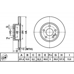 Zavorni disk ALFA 147, 156, FIAT Croma, LANCIA Thema zadnji
