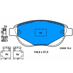 Zavorne ploščice CITROEN C3, C4, PEUGEOT 207, 307, 1007 prednje